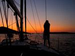 Sonnenuntergang Kakan - Yachtcharter Schweden, Mitsegeln Schweden